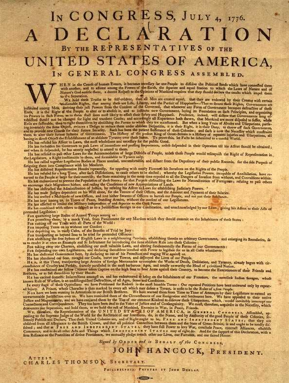 Declaration of Independence USA, Written on Hemp Paper 1776