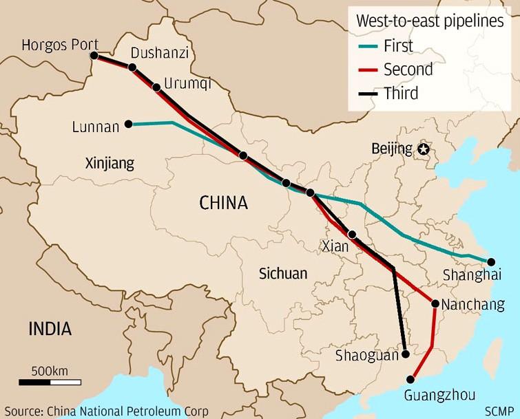 Baoshan Takes Stake In Eastwest PetroChina Pipeline - Baoshan map