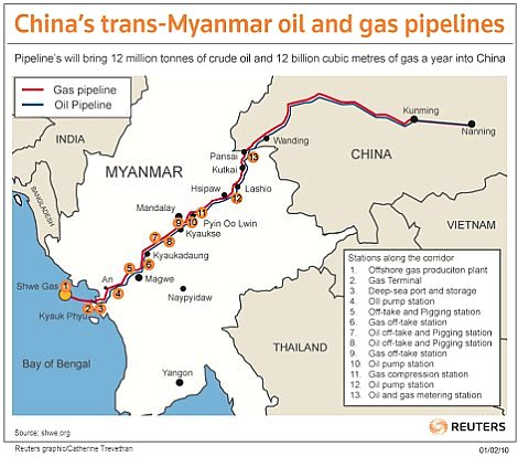 Oil and Natural Gas Pipelines Route Map Myanmar to China