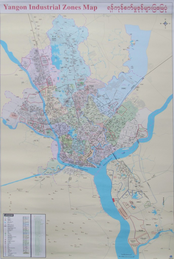 Industrial Zones Map Of Yangon Myanmar 2013