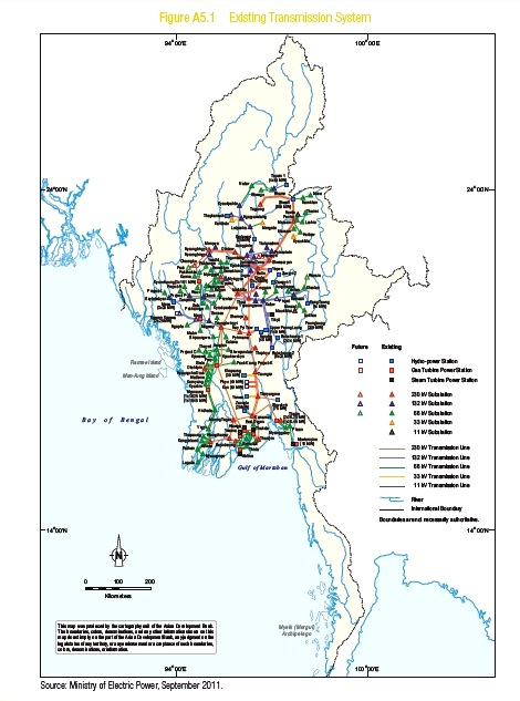 Existing Transmission lines in Myanmar