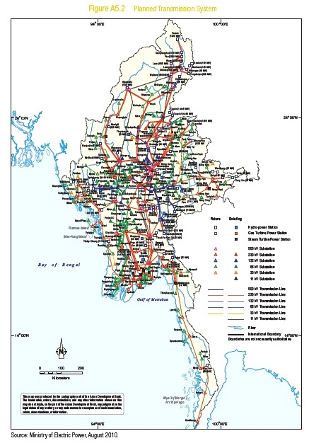 Planned electrical transmission lines in Myanmar