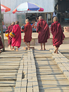 Novice Monks Botataung Jetty 2014 Yangon Image David DuByne