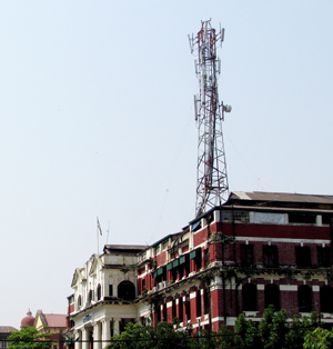 Telecommunications Tower on Colonial Post Office Building Yangon 2013 Image David DuByne