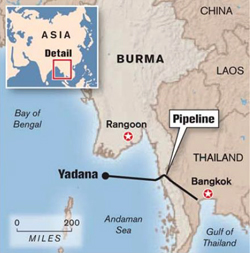 Yadana Pipeline Route