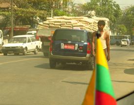 Myanmar Flag in Yangon 2014 Image David DuByne