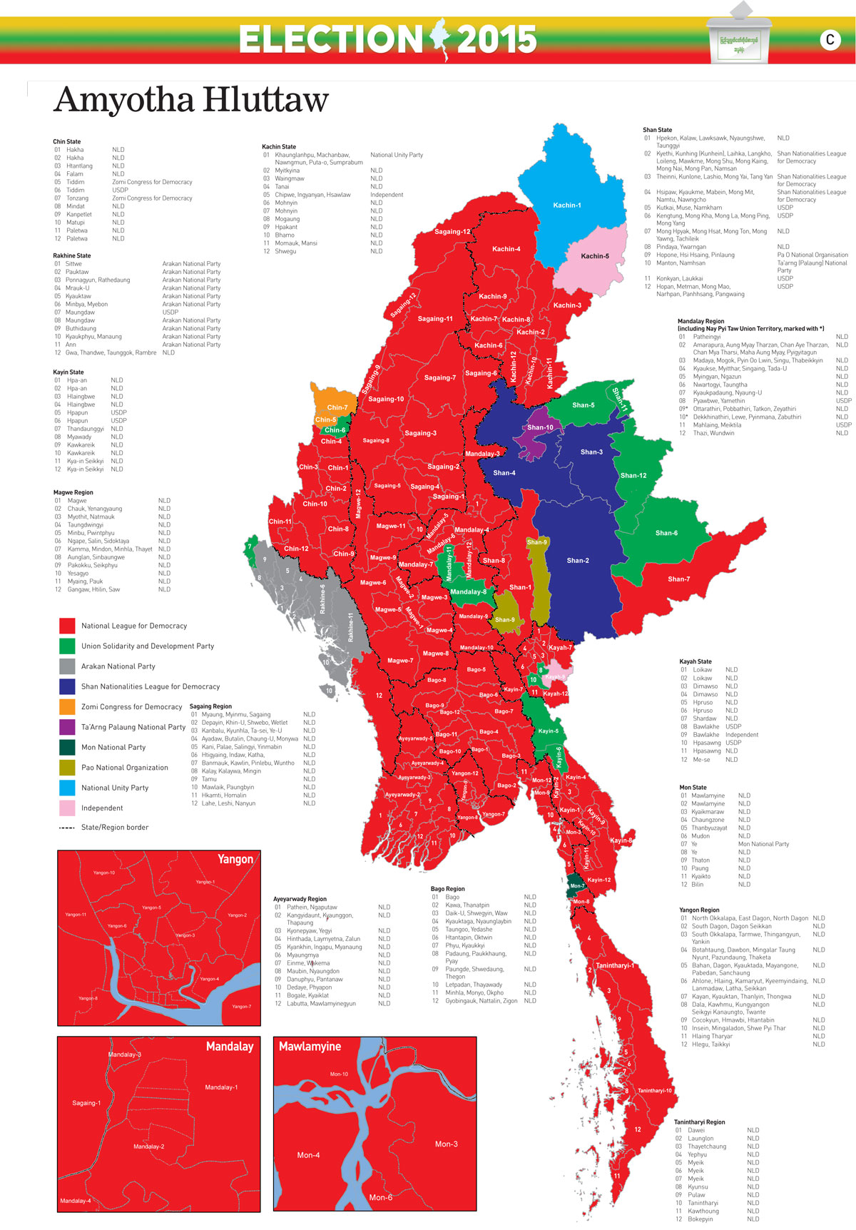 Myanmar 2015 Election results map large